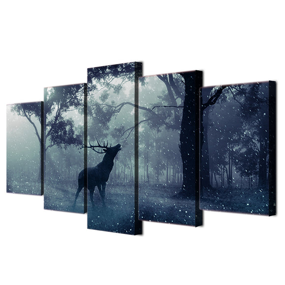 Winter Scene Snow animal deer forest Wall Art Print on Canvas - ASH Wall Decor - Wall Art Canvas Panel Print Painting