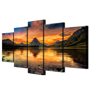 Medicine Lake glacier 5 piece Wall Art on Canvas Print Panel Poster Picture : cheap canvas prints wall paintings pictures