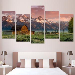 5 Pcs Barn Teton Rocky Mountains at sunset wall art canvas 5 panel print picture : cheap canvas prints wall paintings pictures