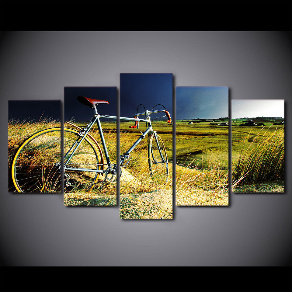 Vintage bicycle in the field storm canvas panel wall art picture ...