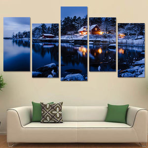 Winter snow lake scene cabin forest trees 5 piece wall art canvas panel print : cheap canvas prints wall paintings pictures