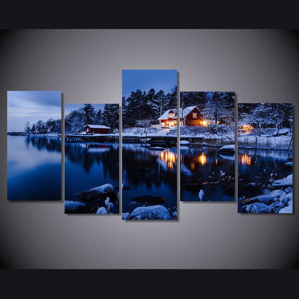 Snow lake scenery with home 5 pieces