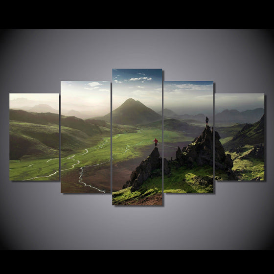 Hiking scenery with green mountains Canvas Print - ASH Wall Decor