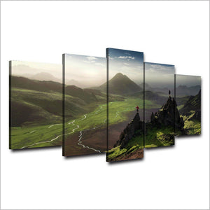 5 Panel Pcs Pieces Hiking Green Mountains Wall Art Canvas Print Framed UNframed : cheap canvas prints wall paintings pictures