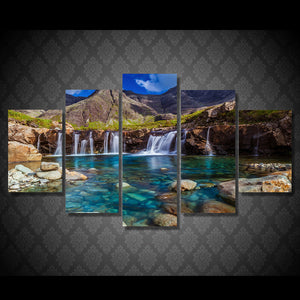 5 Panel Picture Nebo Gory Potoki Kamni Ozero  Waterfall Mountains Canvas Print : cheap canvas prints wall paintings pictures