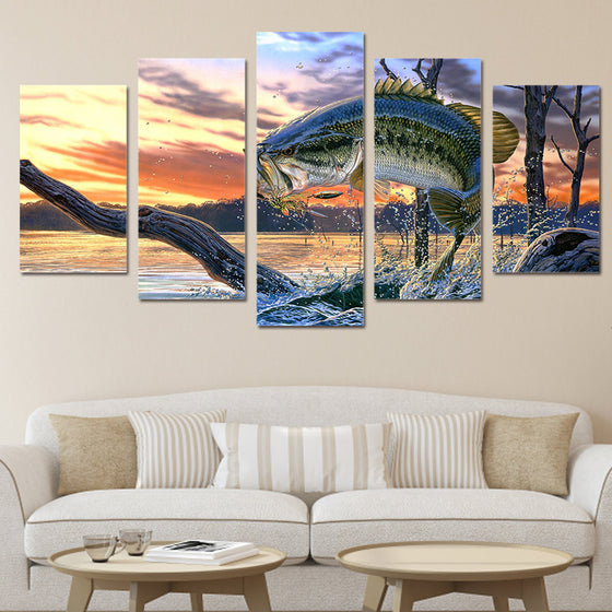 Jumping fish fishing landscape wall art on canvas - ASH Wall Decor - Wall Art Picture Painting Canvas Living Room