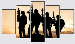 5 Panel United States Army Rangers Sunset Silhouette Wall Art on Canvas - ASH Wall Decor - Wall Art Canvas Panel Print Painting