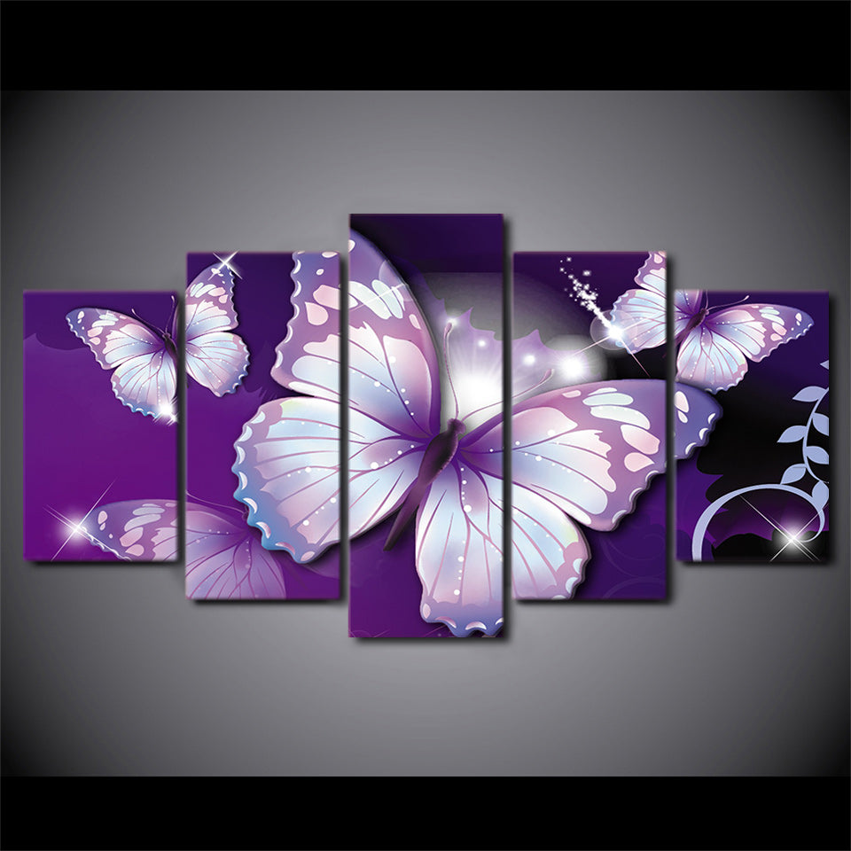 purple painting style butterfly butterfies canvas panel print room dec ash wall decor. Black Bedroom Furniture Sets. Home Design Ideas