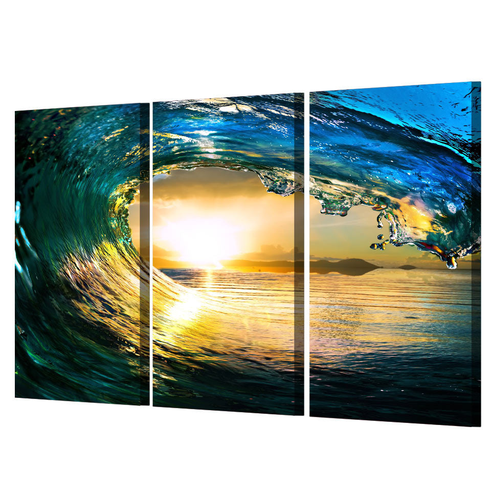 Ocean Wave at Sunset 3 piece canvas panel wall art print Framed ...