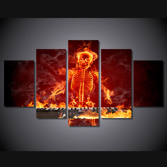 Fire Flames Skull Skeleton Keyboard Player wall art picture canvas Framed UNframed