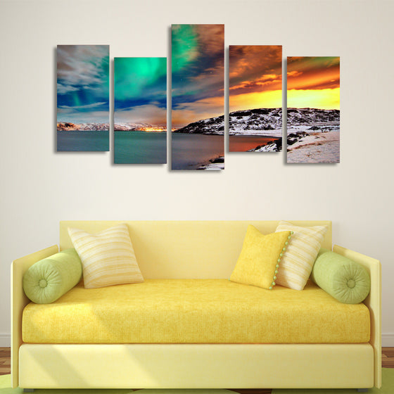 Nordic Snow Mountain Aurora Wall Art on Canvas Panel - ASH Wall Decor - Wall Art Picture Painting Canvas Living Room
