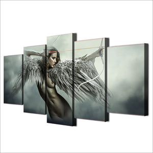 5 piece canvas art sets fantasy angel warrior wings wall art : cheap canvas prints wall paintings pictures