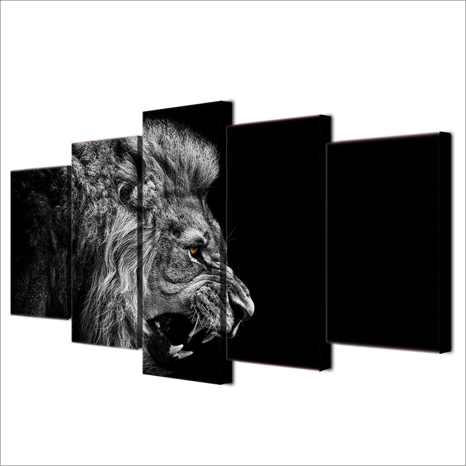 Dark Black And White Lion Wall Art Print   5 Piece Profile Of A Lion Head  ...