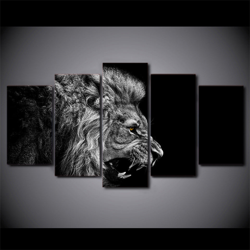 Great ... Dark Black And White Lion Wall Art Canvas Print   5 Piece Profile Of A  Lion ...