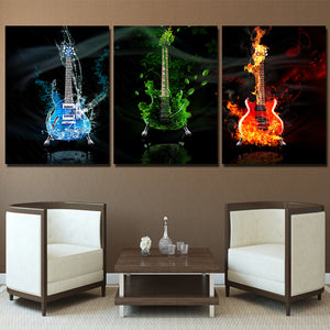 3 panel art music guitar fire flames wall art canvas print wall art studio store : cheap canvas prints wall paintings pictures