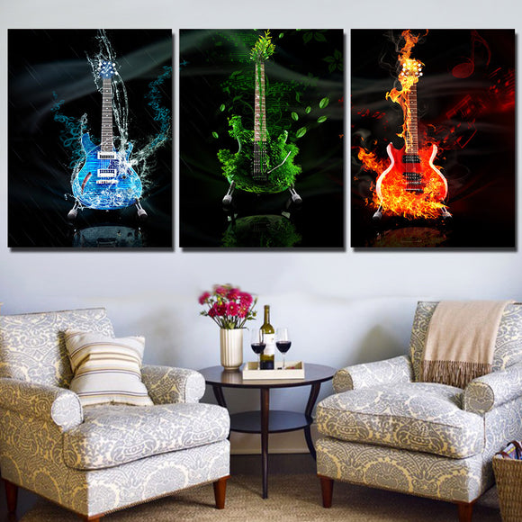 3 panel art music guitar fire flames wall art canvas print wall art studio store - ASH Wall Decor - Wall Art Canvas Panel Print Painting