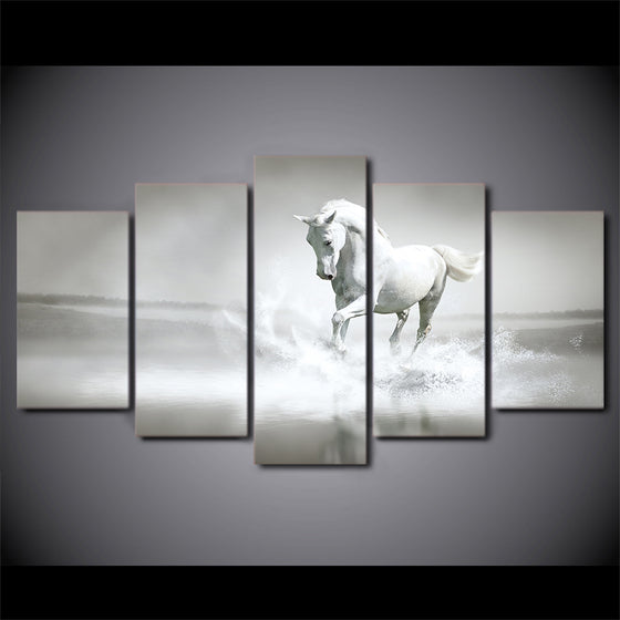 White horse running water galloping Canvas Wall Art Print on canvas room decor - ASH Wall Decor - Wall Art Picture Painting Canvas Living Room