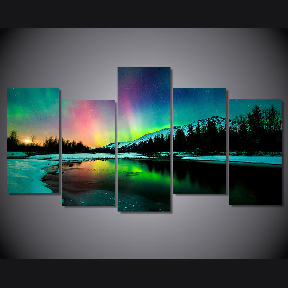 Aurora Northern Lights Reflection   Lake Mountain Landscape   ASH Wall  Decor   Wall Art Canvas