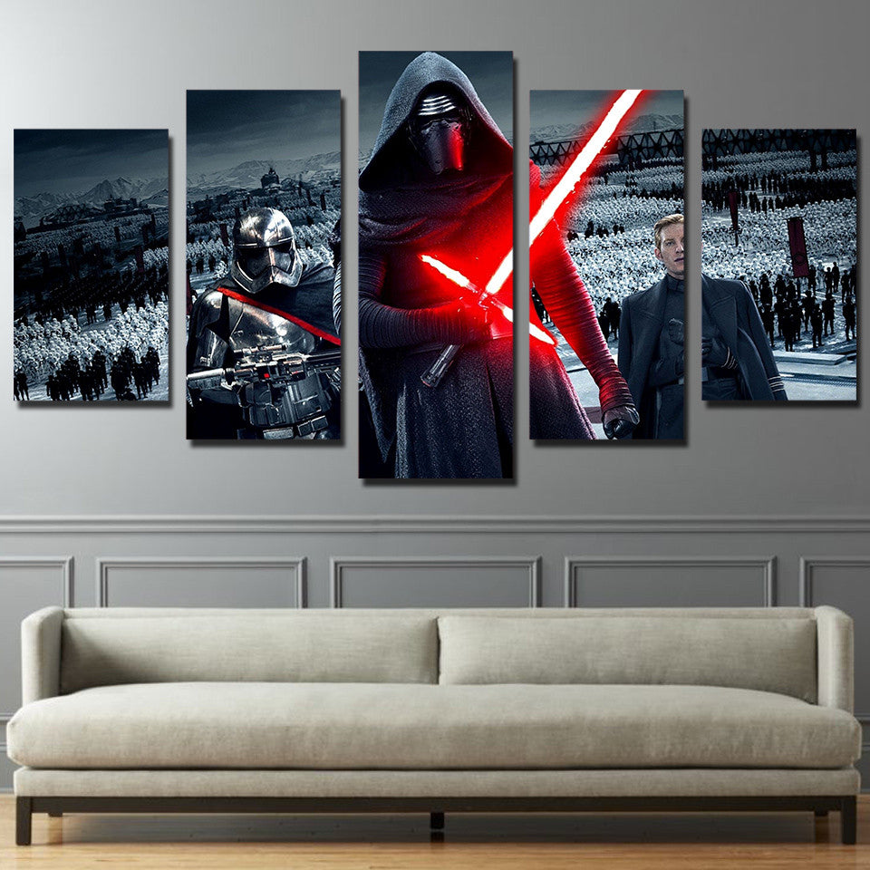 5 piece canvas art star wars panel wall art print poster framed unframed ash wall