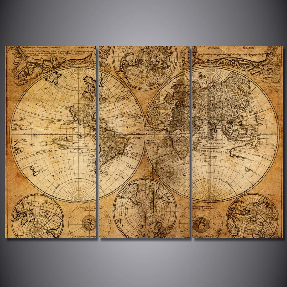 3 panel canvas art world map canvas panel ancient map wall for World map wall print