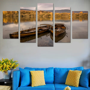 5 piece panel wall art Row Boats in Lake at Evening canvas print picture poster : cheap canvas prints wall paintings pictures