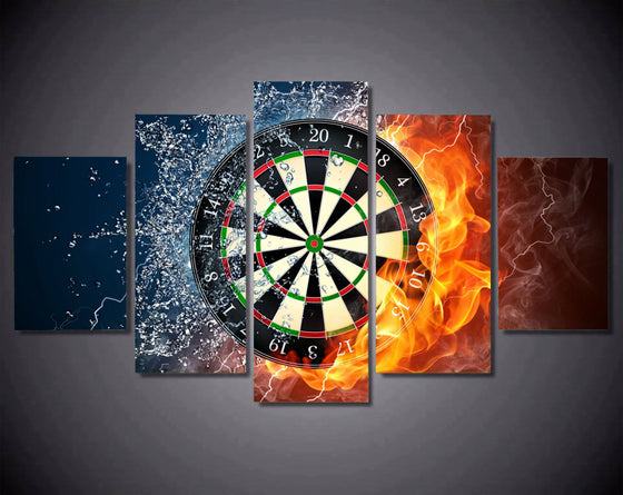 5 panel wall art -  Dartboard Darts - fire and ice