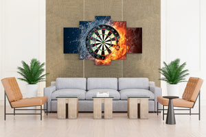 5 panel pieces wall art Dartboard Darts fire and ice canvas panel picture print : cheap canvas prints wall paintings pictures