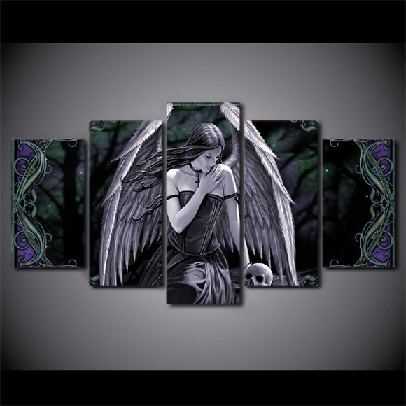 Angel Girl with Wings and Skull canvas - Dark 5 piece wall print - ASH Wall Decor - Wall Art Picture Painting Canvas Living Room