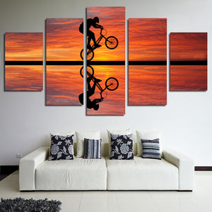 Beach sunset bike cycling - 5 piece panel art Panel Poster Picture Print : cheap canvas prints wall paintings pictures