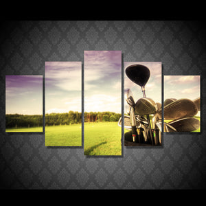 5 Pcs Golf professional golf course Art Home Decor Canvas Picture Print : cheap canvas prints wall paintings pictures