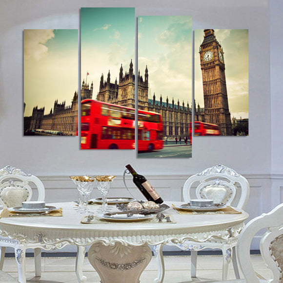 London Clock Tower with Red Bus panel wall art canvas - ASH Wall Decor - Wall Art Picture Painting Canvas Living Room