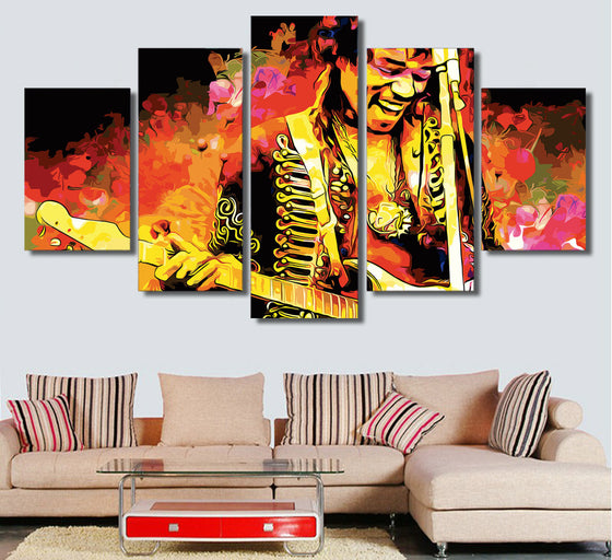 5 panel canvas print jimi hendrix music guitarist playing guitar abstract - ASH Wall Decor - Wall Art Picture Painting Canvas Living Room