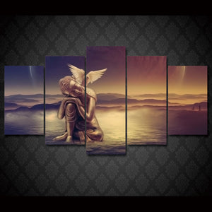 Angel Peace Dove 5 Pcs piece panel canvas wall art picture print poster religion : cheap canvas prints wall paintings pictures