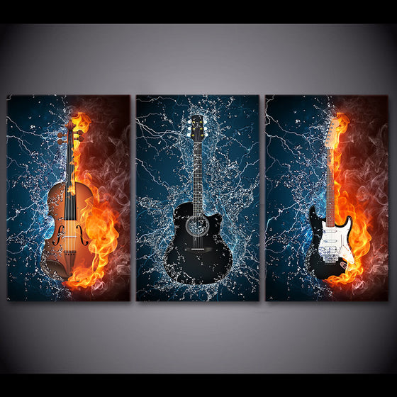 3 Panel Canvas 5 Panel Wall Art Print poster Black Burning fire Guitar Music - ASH Wall Decor - Wall Art Canvas Panel Print Painting