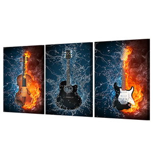 3 Panel Canvas 5 Pcs Panel Wall Art Print poster Black Burning fire Guitar Music : cheap canvas prints wall paintings pictures