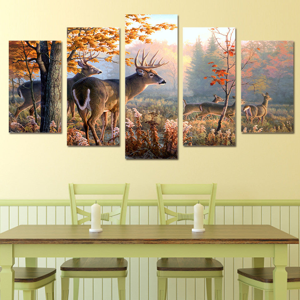 Deer in forest Picture 5 piece canvas wall art picture - ASH Wall Decor