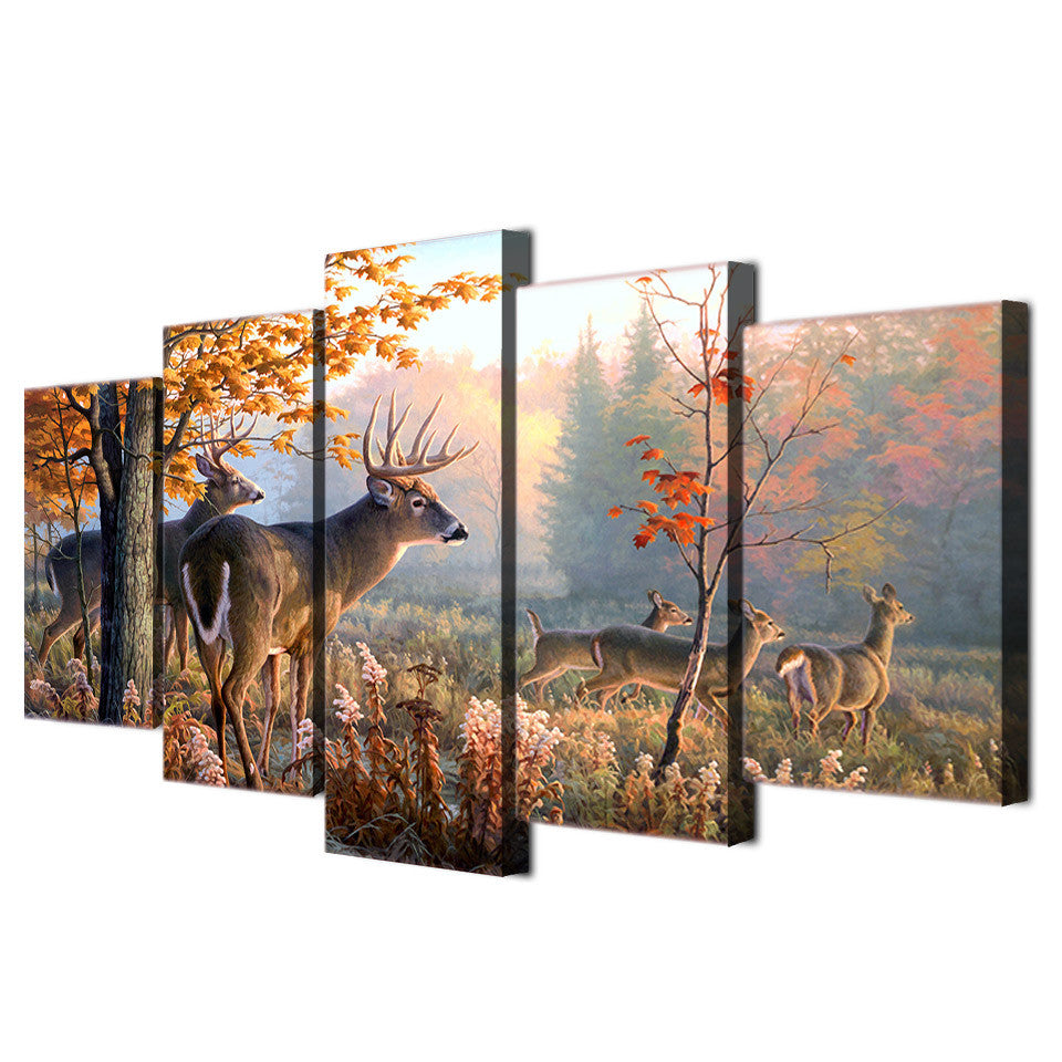 Deer in forest Picture 5 piece canvas wall art picture - ASH Wall Decor - Wall Art Canvas Panel Print Painting