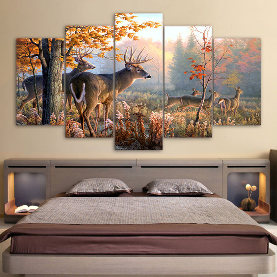 Deer in forest Picture 5 piece canvas art - ASH Wall Decor