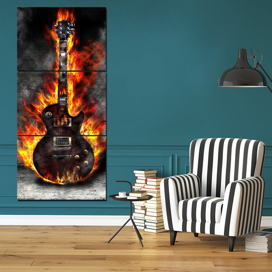 3 Panel Canvas Art Burning Guitar Music - ASH Wall Decor - Wall Art Canvas Panel Print Painting