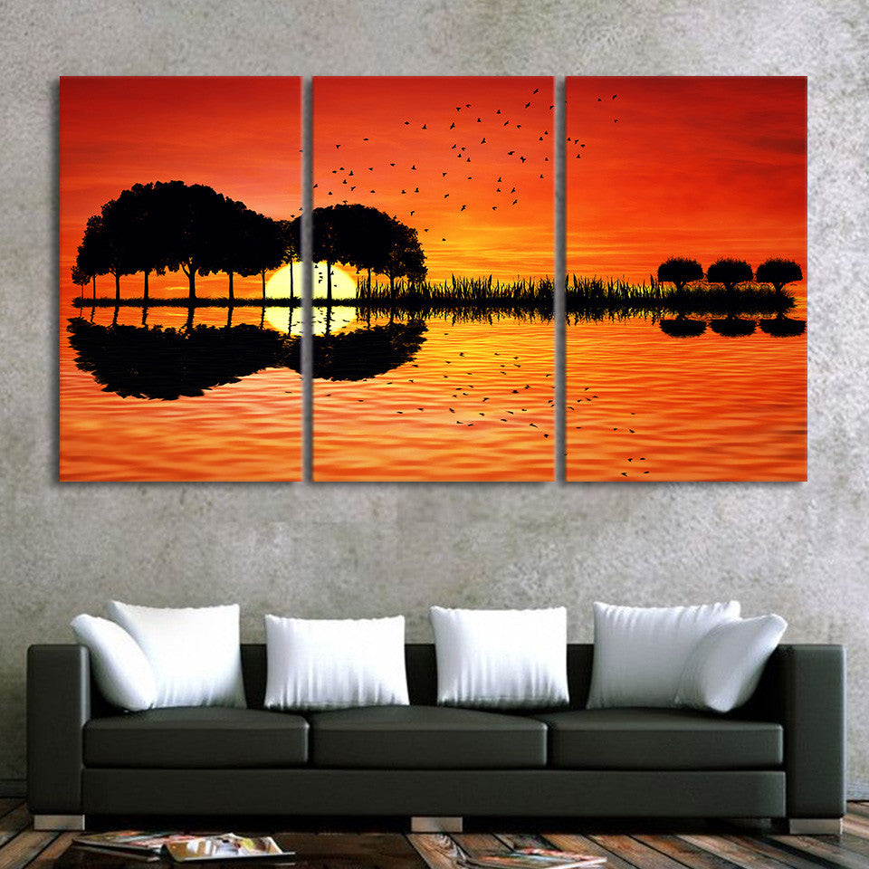 "3 piece canvas reflection print - wall art ""guitar tree"" at lake sunset"