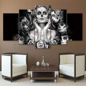 Day of the Dead Face canvas panel wall art canvas print picture wall art decor - ASH Wall Decor - Wall Art Canvas Panel Print Painting