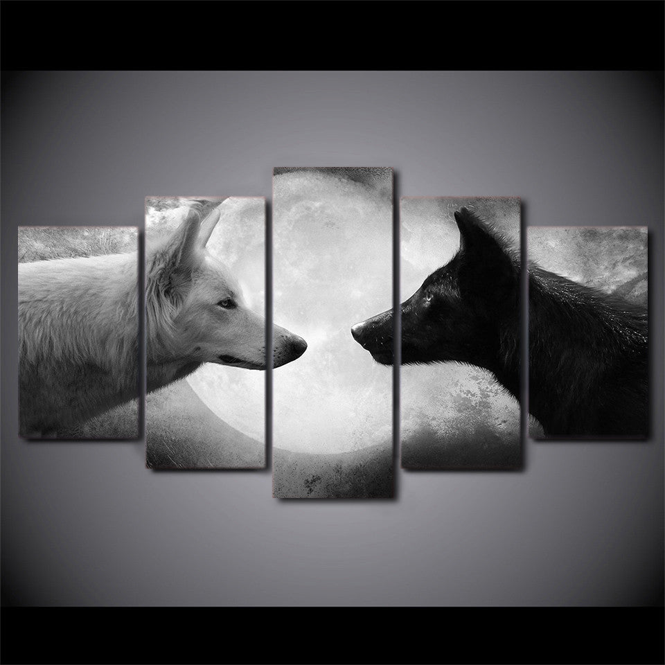5 Piece Panel Wall Art on Canvas - Black / White Wolves Moon | ASH ...