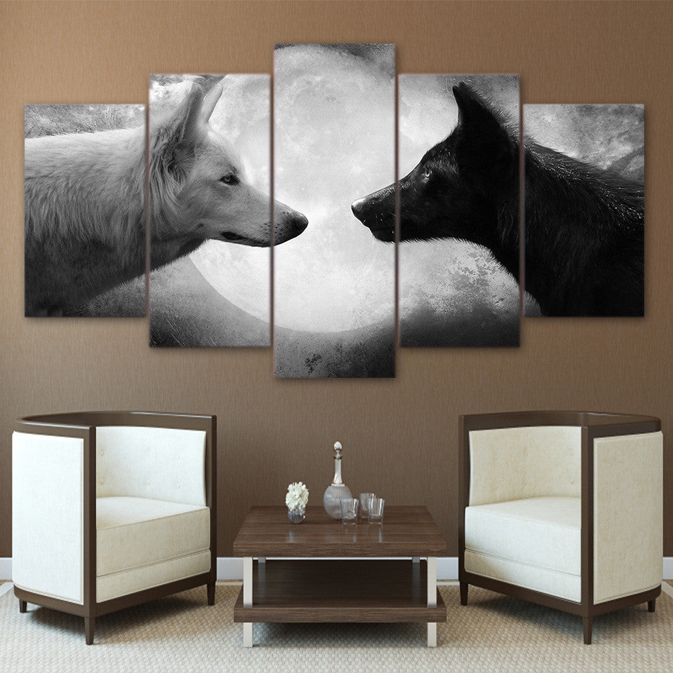 5 Piece Panel Wall Art on Canvas - Black / White Wolves Moon - ASH Wall Decor - Wall Art Canvas Panel Print Painting