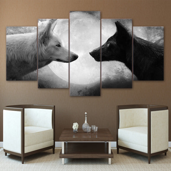 5 Piece Panel Wall Art on Canvas - Black / White Wolves Moon - ASH Wall Decor - Wall Art Picture Painting Canvas Living Room