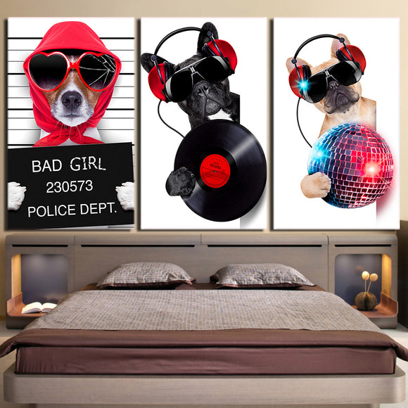 3 Panel wall canvas art Musicality Bulldog Canvas Painting Wall Art Canvas Poster
