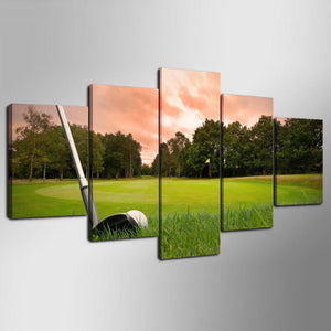 5 Piece canvas art golf club course : cheap canvas prints wall paintings pictures