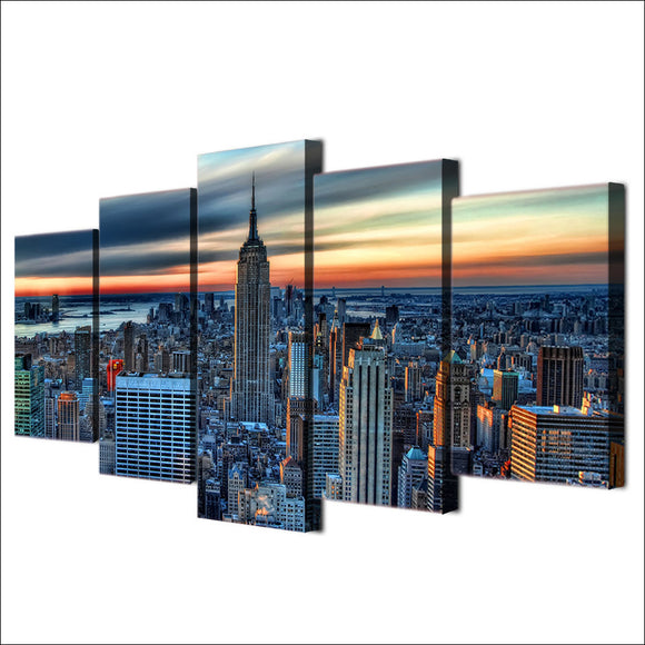 New York City Skyline Cityscape Print 5 piece canvas wall art - ASH Wall Decor - Wall Art Picture Painting Canvas Living Room
