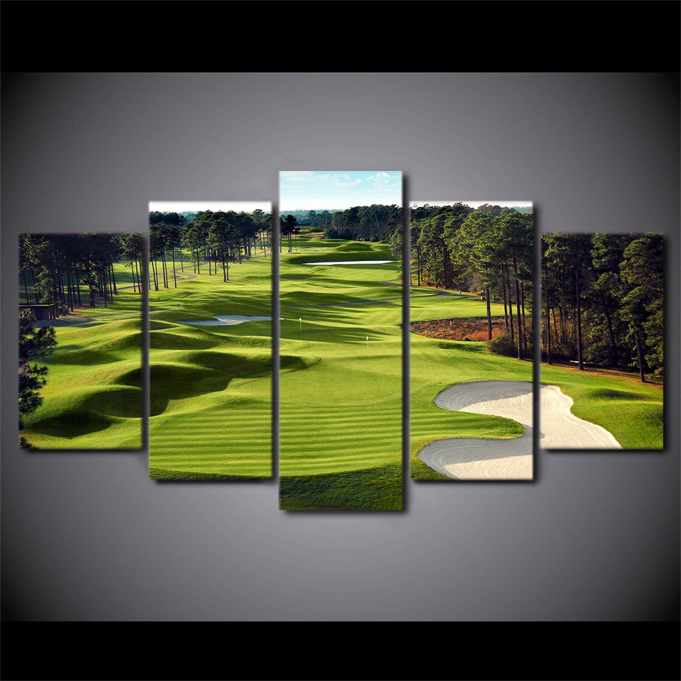 5 Piece Golf Course Green Fairway Sandtrap Wall Art Canvas Panel Print For  Golfer   ASH