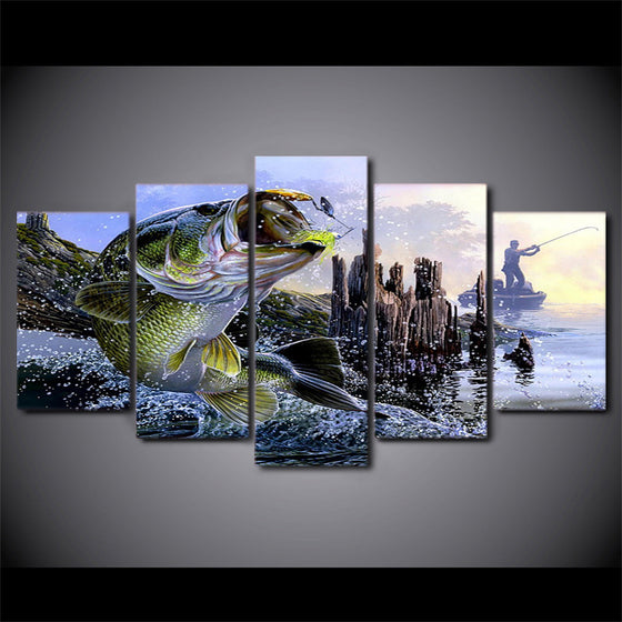 Canvas wall art 5 Piece large mouth bass fishing fish - ASH Wall Decor - Wall Art Picture Painting Canvas Living Room