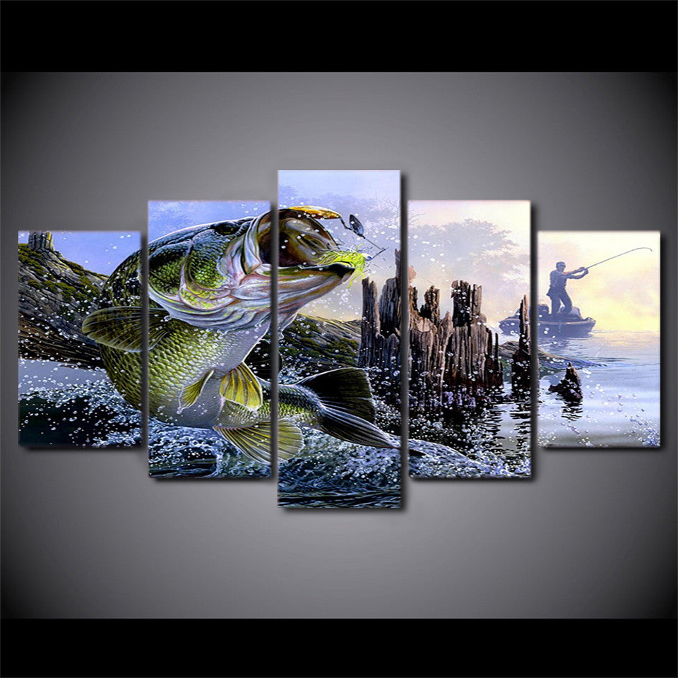 Canvas Printed 5 Pieces largemouth bass fishing - ASH Wall Decor